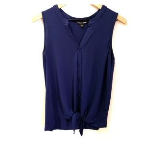 Cable & Gauge- blue, sleeveless blouse